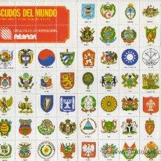 Documentos antiguos: HOJA DENTADA DE ESCUDOS DEL MUNDO DEL CIRCULO FILATELICO INTERNACIONAL . Lote 31614397