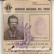 Documents Anciens: 1941 TARRAGONA CARNET DE IDENTIDAD DE JEFE PROVINCIAL DEL SERVICIO NACIONAL DEL TRIGO. Lote 31356023