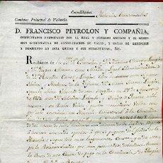 Documentos antiguos: DOCUMENTO RECIBO CONTRIBUCION HERENCIA , VALENCIA 1805 , ORIGINAL, FA24. Lote 31415786