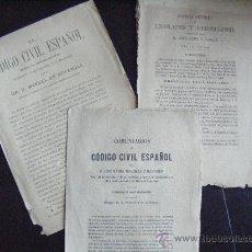 Documentos antiguos: LOTE 3 ANTIGUOS DOCUMENTOS. CÓDIGO CIVIL ESPAÑOL Y REVISTA GENERAL DE LEGISLACION Y JURISPRUDENCIA.. Lote 31457048