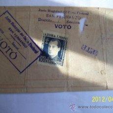 Documentos antiguos: VALE O DOCUMENTO DE LA JUNTA MUNICIPAL DEL SENSO ELECTORAL DE SAN FERNANDO CADIZ. Lote 31457663