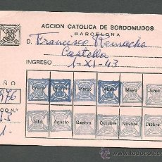 Documentos antiguos: 0235 CARNET DE L ACCIÓN CATÓLICA DE SORDOMUDOS - BARCELONA - AÑO 1976. Lote 31510186