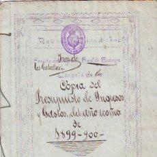 Documentos antiguos: JEREZ DE LOS CABALLEROS. AYUNTAMIENTO 1899-1900 (LEER). Lote 31510548