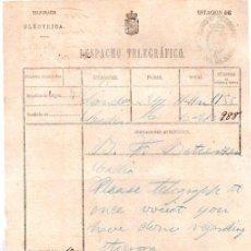 Documentos antiguos: DESPACHO TELEGRÁFICO, ORIGEN LONDRES -DESTINO CÁDIZ, 1880. Lote 31536114