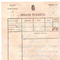 Documentos antiguos: DESPACHO TELEGRÁFICO, ORIGEN LONDON -DESTINO CÁDIZ, 1870. BENSUSAN. Lote 31536197