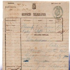 Documentos antiguos: DESPACHO TELEGRÁFICO, ORIGEN PLENEUF -DESTINO CÁDIZ, 1879. BENSUSAN. Lote 31536222