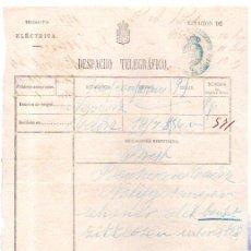 Documentos antiguos: DESPACHO TELEGRÁFICO, ORIGEN NEW YORK -DESTINO CÁDIZ, 1878. BENSUSAN. Lote 31536237