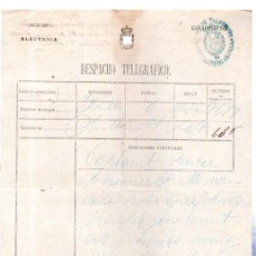 Documentos antiguos: DESPACHO TELEGRÁFICO, ORIGEN LONDON -DESTINO CÁDIZ, 1878. CAPITÁN PEARCE. Lote 31536248
