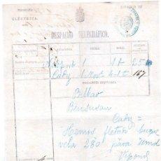 Documentos antiguos: DESPACHO TELEGRÁFICO, ORIGEN LIVERPOOL -DESTINO CÁDIZ, 1878. . Lote 31536269