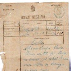 Documentos antiguos: DESPACHO TELEGRÁFICO, ORIGEN LIVERPOOL -DESTINO CÁDIZ, 1878. . Lote 31536278