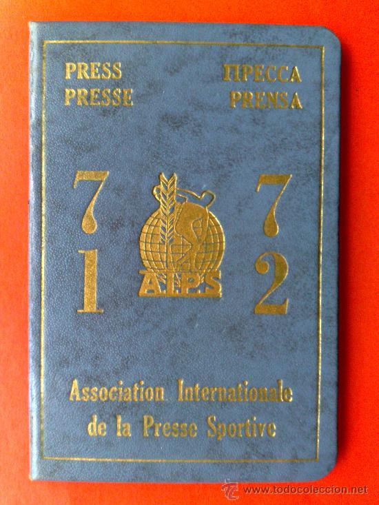 CARNET ASOCIACION INTERNACIONAL PRENSA DEPORTIVA (FOTOS) (Coleccionismo - Documentos - Otros documentos)