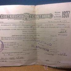 Documentos antiguos: CONTRIBUCION TERRITORIAL AÑO 1937 A 1939 DE NUCIA - ALICANTE. Lote 31706836