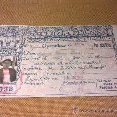 Documentos antiguos: CEDULA PERSONAL DE 1938 AYUNTAMIENTO DE NUCIA - ALICANTE CON FOTO. Lote 31707086