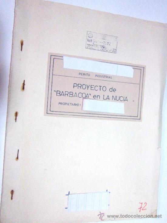 PLANOS DE CONSTRUCCIÓN EN UN ESTABLECIMIENTO DE ·· PROYECTO BARBACOA · LA NUCIA · ALICANTE (Coleccionismo - Documentos - Otros documentos)