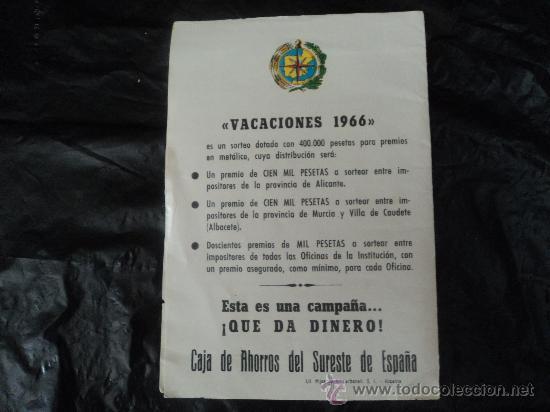 Documentos antiguos: PUBLICIDAD CAJA DE AHORROS DEL SURESTE DE ESPAÑA. - Foto 2 - 31777943