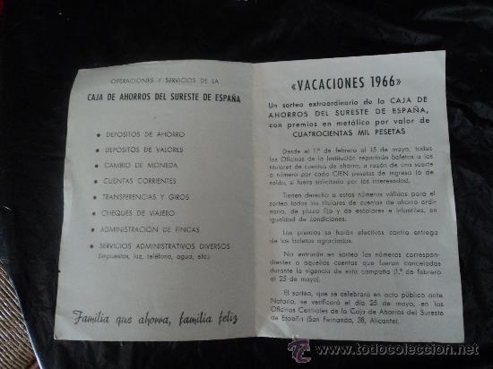 Documentos antiguos: PUBLICIDAD CAJA DE AHORROS DEL SURESTE DE ESPAÑA. - Foto 3 - 31777943
