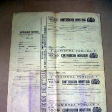 Documentos antiguos: DOCUMENTO, CONTRIBUCION INDUSTRIAL, IMPUESTOS. Lote 31861833