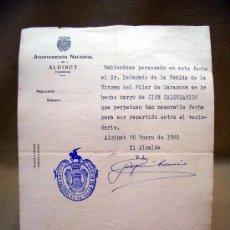 Documentos antiguos: DOCUMENTO, AYUNTAMIENTO NACIONAL ALGINET, VALENNCIA, RECIBO, 1940. Lote 31862318