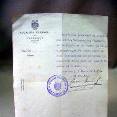 Documentos antiguos: DOCUMENTO, RECIBO, ALCALDIA NACIONAL CATARROJA, VALENCIA, 1939. Lote 31862663