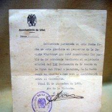 Documentos antiguos: DOCUMENTO, RECIBO, ALCALDIA NACIONAL UTIEL, VALENCIA, 1939. Lote 31862791