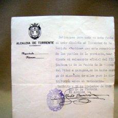 Documentos antiguos: DOCUMENTO, RECIBO, ALCALDIA NACIONAL DE TORRENTE, 1939, VALENCIA. Lote 31862926