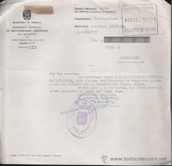 FICHA DE MUTUALIDAD LABORAL-CREVILLENTE (Coleccionismo - Documentos - Otros documentos)