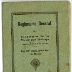 Documentos antiguos: REGLAMENTO INSTITUTO DE LA MUJER QUE TRABAJA. CAJA DE PENSIONES BARCELONA 1930. Lote 32051357