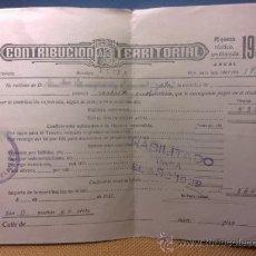Documentos antiguos: CONTRIBUCION TERRITORIAL AÑO 1937 A 1939 DE NUCIA - ALICANTE. Lote 32139022
