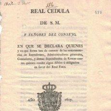 Documentos antiguos: REAL CÉDULA DE S. M. Y SEÑORES DEL CONSEJO (1807). Lote 35582154