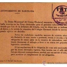 Documentos antiguos: NOTIFICACIÓN DEL CENSO ELECTORAL. AYUNTAMIENTO DE BARCELONA. DOCUMENTO DOBLADO. Lote 32253664