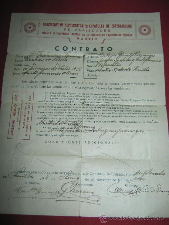 CONTRATO DE LA ASOCIACION DE REPRESENTANTES ESPAÑOLES DE ESPECTACULOS DE VARIEDADES - 1936 (Coleccionismo - Documentos - Otros documentos)
