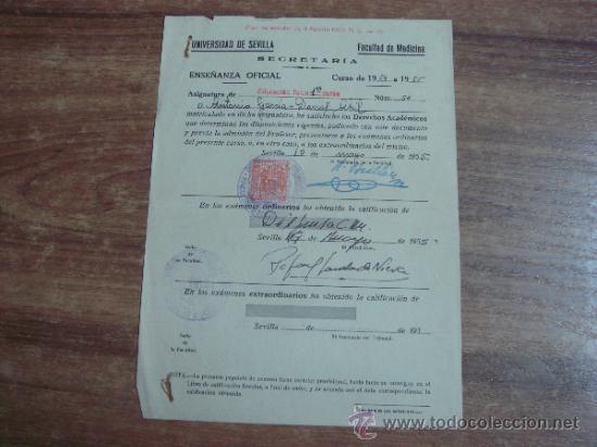 DOCUMENTO.-MATRICULA DE ASUGNATURA EN LA UNIVERSIDAD DE SEVILLA EN LA FACULTAD DE MEDICINA.-AÑO 1955 (Coleccionismo - Documentos - Otros documentos)