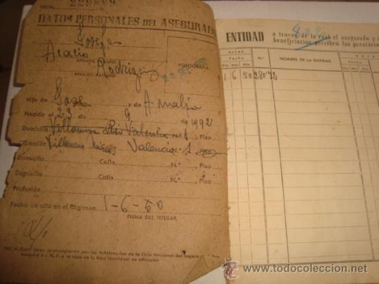 Documentos antiguos: año 52 caja nacional seguro de enfermedad , cartilla de identidad, ministerio de trabajo , - Foto 3 - 122818255