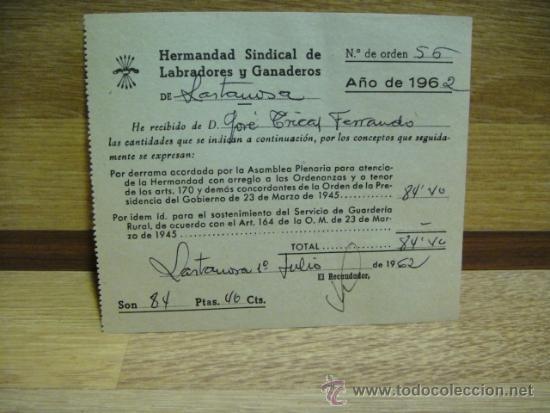 RECIBO HERMANDAD SINDICAL DE LABRADORES Y GANADEROS 1962 - LASTANOSA - HUESCA (Coleccionismo - Documentos - Otros documentos)