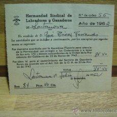 Documentos antiguos: RECIBO HERMANDAD SINDICAL DE LABRADORES Y GANADEROS 1962 - LASTANOSA - HUESCA. Lote 32603077