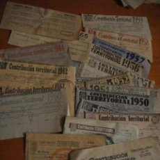 Documentos antiguos: 24 RECIBOS DE CONTRIBUCION TERRITORIAL - HUESCA AÑOS 30-40-50 Y 60. Lote 32620198