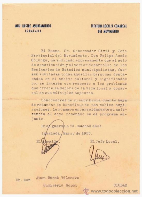 IGUALADA. FRANQUISMO. 3 DOCUMENTOS 1955-1966. UNO DE ELLOS (1955)CON LA FIRMA AUTÓGRFA DEL ALCALDE Y (Coleccionismo - Documentos - Otros documentos)