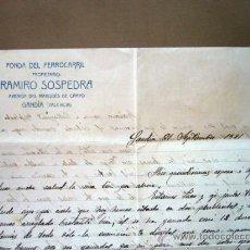 Documents Anciens: CARTA HUESPED DE HOTEL, FONDA DEL FERROCARRIL, RAMIRO SOSPEDRA, GANDIA, VALENCIA, 1921. Lote 32858282