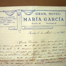 Documents Anciens: CARTA HUESPED DE HOTEL,GRAN HOTEL MARIA GARCIA, GANDIA, VALENCIA, 1927. Lote 32858323
