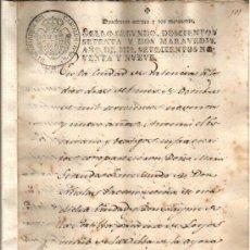 Documentos antiguos: 1799 AYORA VALENCIA. DOCUMENTO MANUSCRITO PAPEL SELLADO FISCAL 2º 272 MARAVEDIS. Lote 32902257