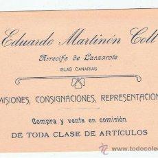 Documentos antiguos: TARJETA DE VISITA COMERCIAL PUERTO DE ARRECIFE LANZAROTE. Lote 32938683