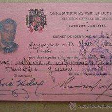 Documentos antiguos: CARNET DE IDENTIDAD CARRERA JUDICIAL , MINISTERIO DE JUSTICIA 1948. Lote 32961087