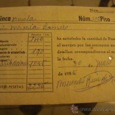 Documentos antiguos: ANTIGUO RECIBO . Lote 32960033