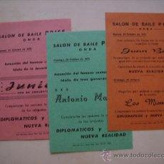 Documentos antiguos: SALON DE BAILE PRISS.ONDA,CASTELLON.ACTUACIONES DE ANTONIO MACHIN,JUAN BAU,LOS MISMOS,JUNIOR.. Lote 32967969
