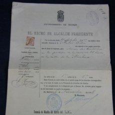 Documentos antiguos: AYUNTAMIENTO DE MADRID 1908 LICENCIA BANDERINES ESTABLECIMIENTO COMERCIAL. Lote 33030570