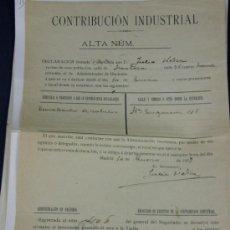Documentos antiguos: ADMINISTRACIÓN DE HACIENDA DE MADRID 1909 CONTRIBUCIÓN INDUSTRIAL. Lote 33030664