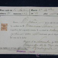Documentos antiguos: RECIBO DE ALQUILER DE LOCAL COMERCIAL GRABADOR 1917 MADRID. Lote 33030920