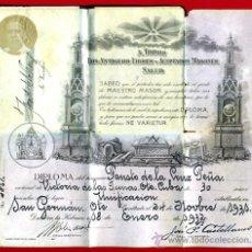 Documentos antiguos: CARNET, TITULO MASON , MASONERIA , LOGIA ANTIGUOS LIBRES MASONES, CUBA 1932 , ORIGINAL. Lote 33430280
