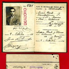 Documentos antiguos: CARNET, UNIVERSIDAD DE MADRID, FACULTAD DE DERECHO 1928 , ORIGINAL. Lote 33430525