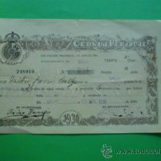 Documentos antiguos: CEDULA PERSONAL DIPUTACION BARCELONA - AYUNTAMIENTO CALAF 20-09-1.930. Lote 33439732
